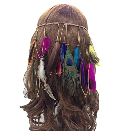 Petalum Feather Fascinator Headband Bohemian Tassels Hair Band Headwear for Women Girls Feather Fascinator Headband Bohemian Tassels Hair Band Headwear for Women Girls (One Size, C)