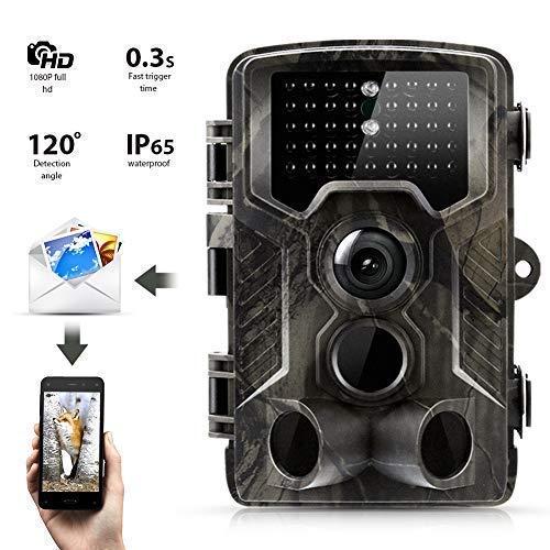 SunTek 2G Cámara de Caza, 16MP 1080P Trail Cámara con 42pz IR LED para Visión Nocturna,0.3s de Tiempo de Activación Visión Nocturna con hasta 21M Cámara de Fauna con Protección, Fauna Seguridad