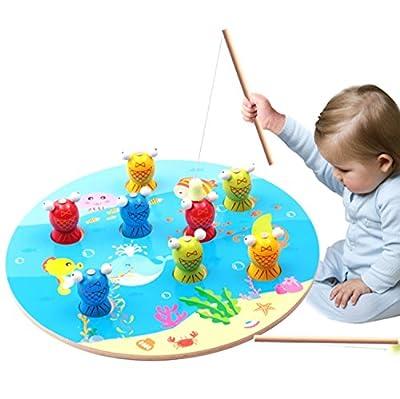 Jouet de pêche en bois pour les enfants, Pêche magnétique, Pêche pour bébé