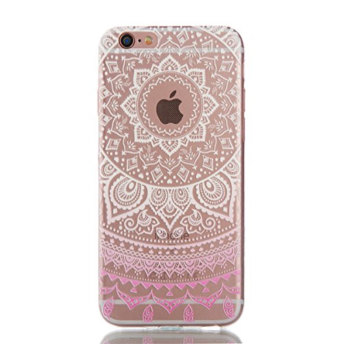 "iPhone 6S Coque,iPhone 6 Bling Case,iPhone 6S Cover - Felfy Ultra Mince Slim Gel TPU Silicone élégant Ultra Thin Bling Plating Case Coque Bumper Cas Housse pour Apple iPhone 6/6S 4.7"" (Losange Violet) Fleurs Roses Gradient"