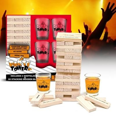 Trinkspiel Party Tower Saufspiel mit 4 Schnapsgläsern - Party Spiel für Erwachsene