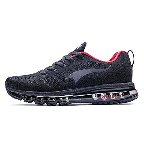 ONEMIX Uomo Scarpe da Ginnastica Corsa Sportive Sneakers Air Running Fitness Respirabile Mesh Casual all'Aperto Nero Rosso 41 EU