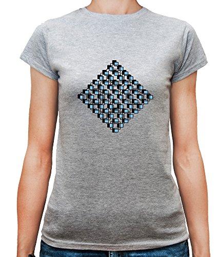 Mesdames T-Shirt avec Geometric Black and Green Shapes Illustration imprimé. Gris