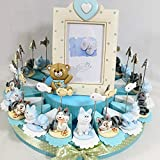 Torta bomboniera per Nascita Battesimo Compleanno Clip Trenino Elefante Orsetto Porta Messaggio Bambino (Torta da 20 fette + Centrale)