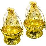 Evisha Net Potli Fibre Decorative Baskets Golden for Wedding, Gifting,Festivals (Set of 2)