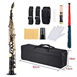 ammoon Brass Straight Soprano Sax Saxophone Bb B flat wood Wind Instrument Pattern Natural shell Key Carve Carrying Case Gloves Cleaning Cloth Grease Cleaning Rod Straps black