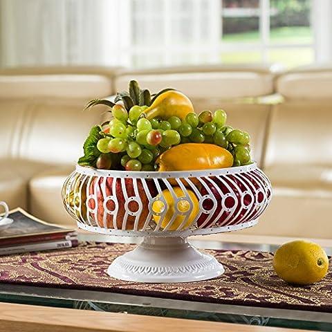Kreative Mode Moderne Wohnzimmer Kaffee Obst Luxus Große Speicherkapazität Rack Obst Süßwaren Schale Korb, Weiß