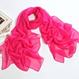 Fashionable Solid Color Chiffon Scarf - Magenta