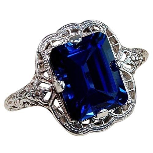 Dhyuen ⭕ Natürliche Silber Edelstein Edelstahl Trauringe für Frauen, Court Blue Verlobungsringe Ewigkeit