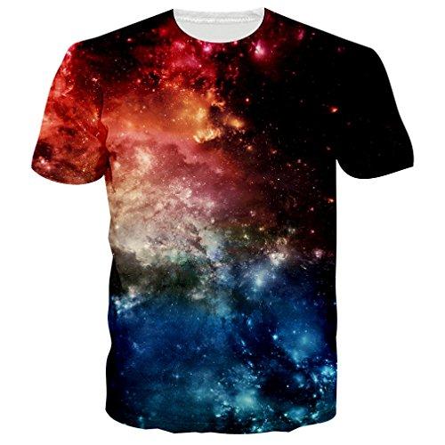 NEWISTAR Unisex Jugend 3D Druck Grafik Casual Kurzarm T-Shirt T-Shirts (2 Jugend-größe T-shirt)