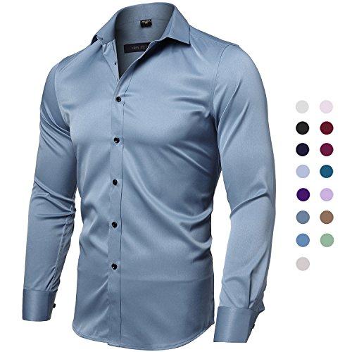 Bügelleicht für Freizeit Business Hochzeit Businesshemd Freizeithemd Men's Shirt Bambusfaser Einfarbig Slim Fit EU 42 Blaugrau (Asiatische Kostüme Männlich)