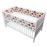 TupTam Babybett Bettumrandung Lang Gemustert, Farbe: Elefant Rosa, Größe: 360x30cm (für Babybett 120x60)