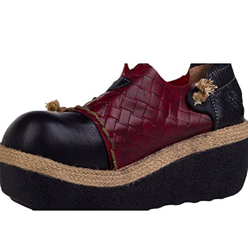 Vogstyle Femme Vintage Tissage Side Chaussures à Plateau Noir