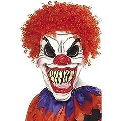 Idea Regalo - Maschera horror da clown Faccia finta pagliaccio cattivo - Accessorio halloween buffone assassino Arlecchino oscuro maschera intera Componente travestimento clown Copertura viso da pagliaccio