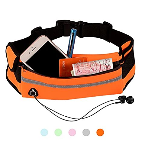 PULCHRA Running Belt Waist Pack (5 colours) Water Resistant Breathable Elastic Neoprene High Capacity Outdoor Sports Hiking Pouch Bag for Earphone Belongings Smart Phone iPhone (Orange)