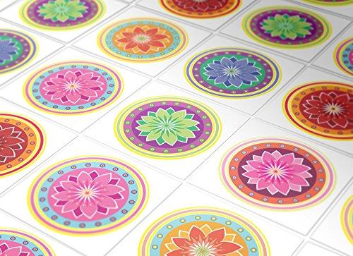 Adhesivos para Azulejos - Paquetes con 24 (PISO, SUELO - 15 x 15 cm, Pegatinas Azulejos, Azulejos Mandalas, Decoración Mandalas, Adhesivos Mandalas, Azulejos para Pisos, Vinilos Decorativos)