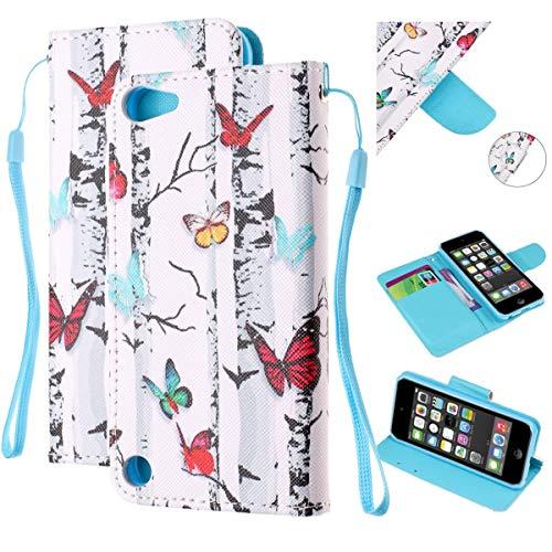 Onlycase cover per ipod touch 5 / ipod touch 6, flip custodia libro pelle pu e tpu silicone con funzione supporto chiusura magnetica portafoglio libretto bumper case, farfalla e albero