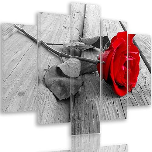Feeby Frames, Tableau Multi Panneau 5 Parties, Tableau imprimé XXL, Tableau imprimé sur Toile, Tableau Deco, Pentaptyque Type A, 100x150 cm, Fleur, Rose, Bois, One Colour, Blanc, Rouge