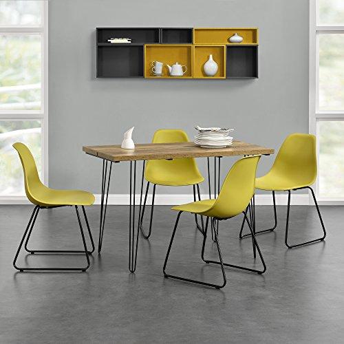 """[en.casa]® Esstisch [Holzfarben] mit Hairpinlegs + 4 x Design-Stuhl """"Porto"""" [Senffarben] im Set"""