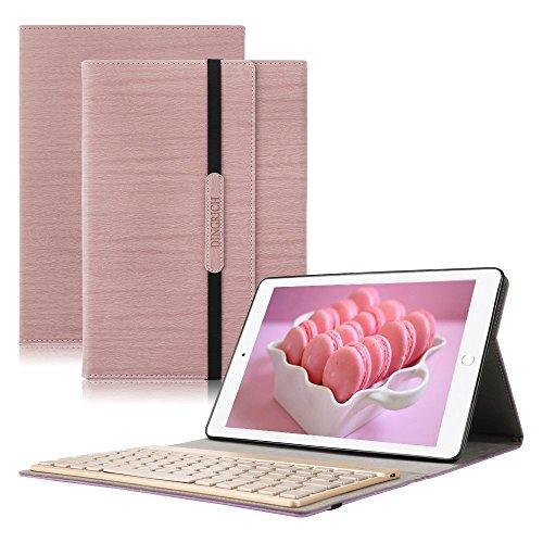 Dingrich IPad Pro 10.5 Tastatur Hülle, Stand Folio PU Hülle mit 7 Farben hinterleuchtet abnehmbare Wireless QWERTZ Bluetooth Tastatur und Automatische Schlaf/ Aufwecken Funktion, für Ipad Pro 10.5 (Rosé - Ipad Mit Tastatur 4 Fall