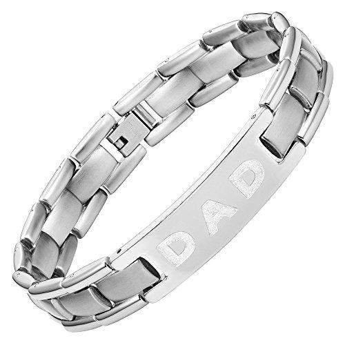 """Willis judd braccialetto in titanio, motivo: """"dad"""" (papà), incisione: """"i love you dad"""" (ti voglio bene papà), con confezione regalo e accessorio per la rimozione delle maglie in più"""
