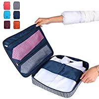 Travel Tie Case Packing Luggage Shirt Organizer Tidy Case Pack- Easy Wrinkle-Free Travel Cube Storage Pouch Waterproof Bag For Men Suitcase Ideal Storing & Delicate Clothes Necktie