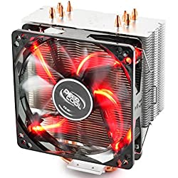 DeepCool Gammaxx 400 Ventola per CPU con 4 Coppie di Tubi di Calore, Dissipatore per CPU con 120mm PWM Ventola LED Rossa Silenziosa(AM4 Compatibile, Pasta Termico Incluso)