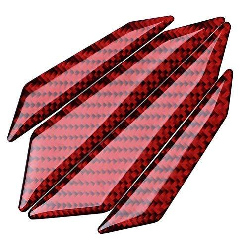 FancyAuto 4pcs Carbon Fiber/Glass Fiber Anti-Collision Protector Car Crash Bar Universal Carbon Trim Car Door Protection Bumber (Red) -