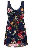 Wantdo Damen Plus Size Figurformender Einteilige Schwimmkleid Retro Raffung Einteiler Bademode Muster vertuschen Badeanzüge 44-46 Navy Red