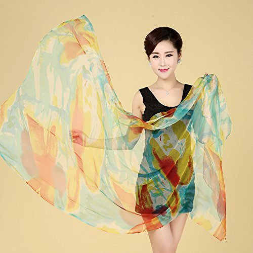 YRXDD Beach towel multi-functional scarf Ms. long section sunscreen shawl scarf thin silk (100 * 172cm), light blue sunset