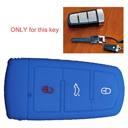tuqiang® Silicona Llave Llave Cover Llave de Coche Sets Llave Móvil 3botones for VW CC Magotan Passat B720131pc Azul