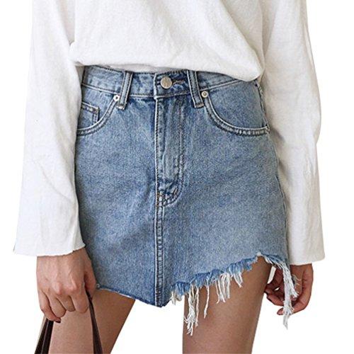 Zkoo minigonna donna gonna jeans elasticizzata sfrangiata asimmetrica nuova s