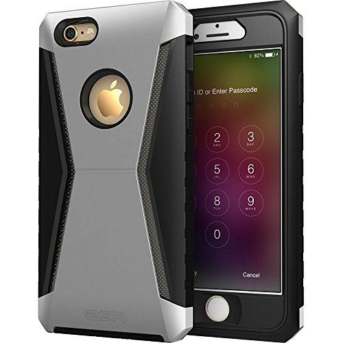iPhone 6 / 6S Hülle (4,7 Zoll), ESR® Ninja Series Hybrid Schutzhülle mit Abnehmbaren Robuste Frontabdeckung Rahmen & Glas Schutzfolie für iPhone 6/6S (Racer Gold) Racer_Silber