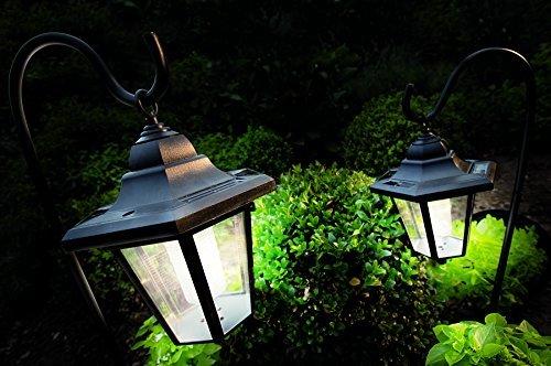 2er Set XL Solarleuchten LED Solar Laterne Garten Metall mit Haken warmweiß Garten Laternen mit warmweißen LED