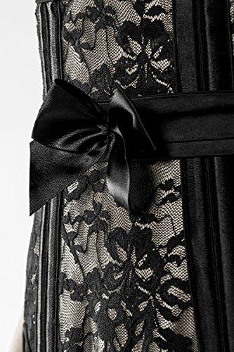 Schwarze Unterbrustcorsage in Lederoptik mit BH und Schnürung sowie Strapsbänder Spitze und Satin Straps-Corsagen Set XXL - 5