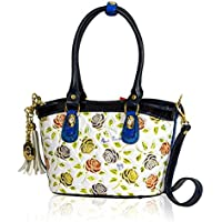 3f875aba00 Marino Orlandi Italian Designer Handpainted Roses White Leather Crossbody  Bag