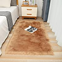 Contemporary Fluffy Faux Fur Sheepskin Area Rugs Shaggy Soft Touch Floor Carpet for Bedrooms Living Room (Camel, 120 x 180cm)