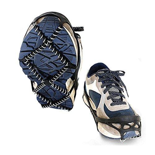 Pawaca Universal Anti-Rutsch-Schuhe EIS Gripper Schnee Walk Traktion Stollen Winter Walker Traktion Gerät Zum Wandern auf Schnee und EIS Wandern Angeln Outdoor Reisen - (schwarz, Passen 35-43 Größen) -