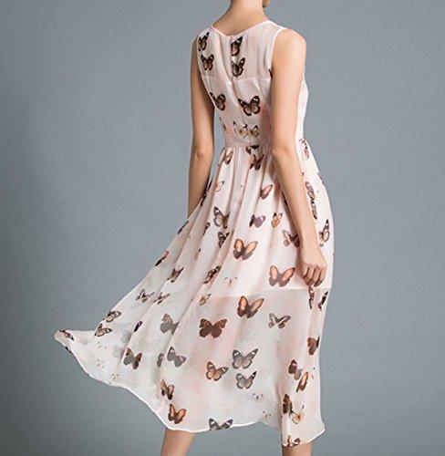 Frau Sommer-dünne War Schlaksig Modelle Schmetterling Klassische ärmelloses Kleid White
