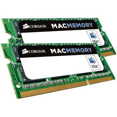 Corsair Mac Memory - Memoria para Apple Mac de 16 GB (2 x 8 GB, DDR3, SODIMM, 1600 MHz, CL11, certificada por Apple) (CMSA16GX3M2A1600C11)