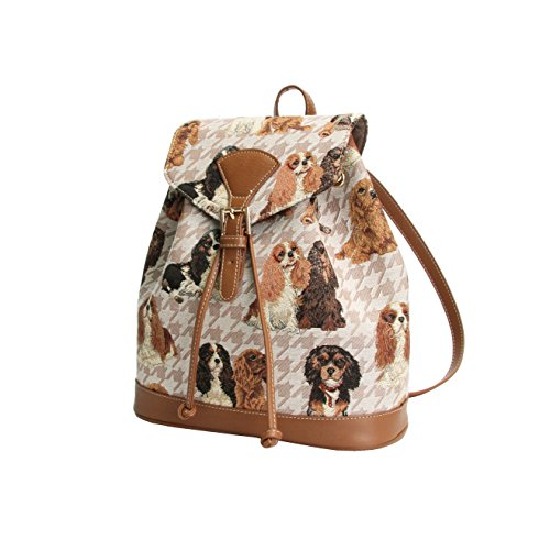 Signare sac à dos petit rabat boucle en toile mode femme Cavalier King Charles Spaniel