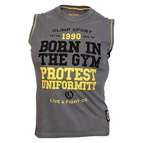 OLIMP LIVE & FIGHT Men's S/L Tee- PROTEST dark grey XXXL -