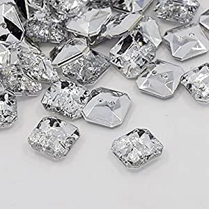 20 BOUTONS FANTAISIES STRASS TRANSPARENT 11 mm FORME CARRE - 2 TROUS 1 mm - CREATION COUTURE SCRAPBOOKING