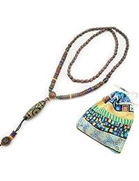 Lange Kette Pullover Halskette Modeschmuck für Frauen Dame Mädchen Buddha  Bohemia Stil Natur Holz Perle und Stein… fe53bf85dd