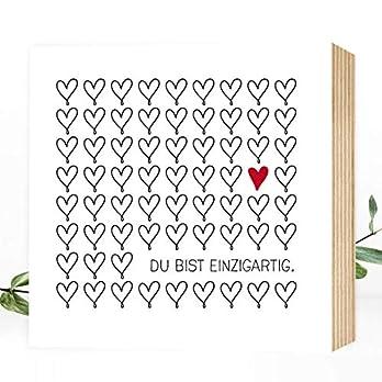 Wunderpixel® Holzbild Du bist einzigartig – 15x15x2cm zum Hinstellen/Aufhängen, echter Fotodruck mit Spruch auf Holz – schwarz-weißes Wand-Bild Aufsteller zur Dekoration oder Geschenk-Idee Herz