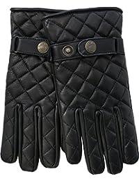 Herren Lederhandschuhe Lammnappa Handschuhe echtleder Steppmuster schwarz
