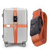 CSTOM® (Naranja) Correa Extensible Apta TSA con Candado de 3 Diales para Maletines Maletas de Viaje 600003-ORG