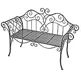 Mojawo Edle Gartenbank Sitzbank aus Eisen Antik Design Sitzbank im Landhausstil Farbe Grau