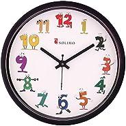 Amazon Brand - Solimo 12-inch Kids' Wall Clock (Silent Movement, Black Fr