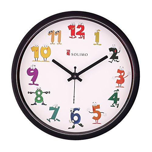 Amazon Brand - Solimo 12-inch Kids' Wall Clock (Silent Movement, Black Frame)